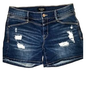 bebe  distressed jean shorts